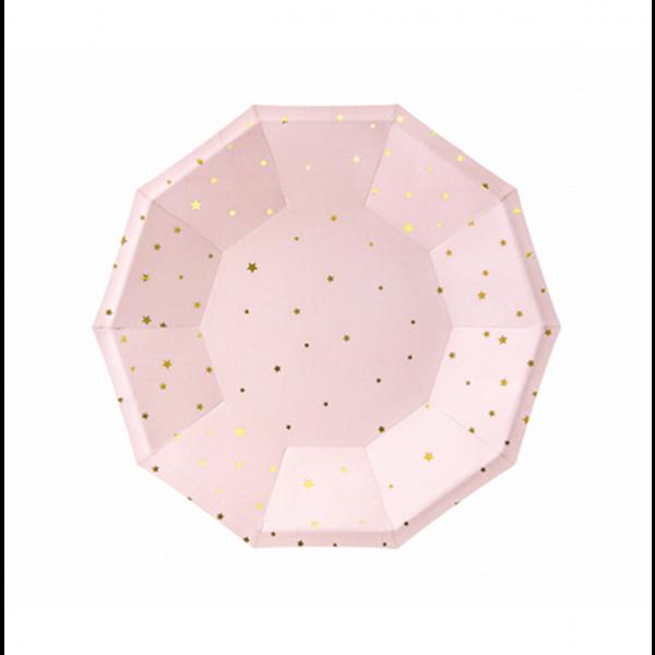 6 Pappteller Trend - Ø 18cm - Stars Rosa