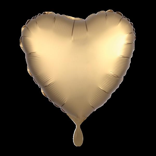 1 Ballon - Herz - Satin - Gold