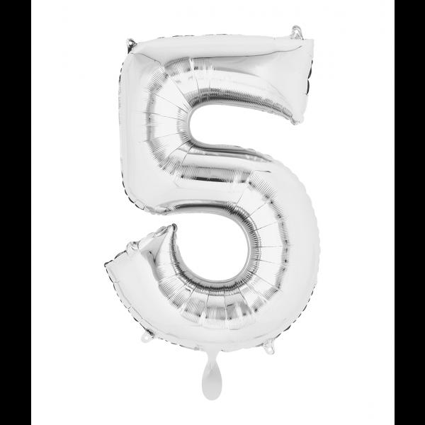 1 Ballon XL - Zahl 5 - Silber