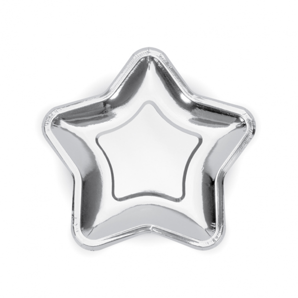 6 Pappteller Trend - Ø 18cm - Star - Silber