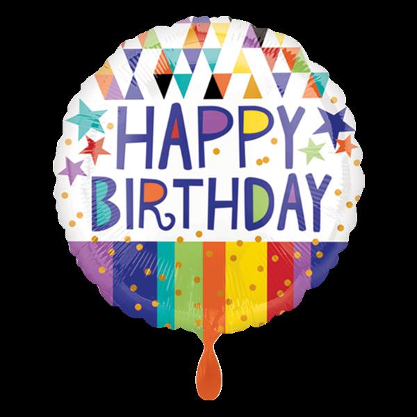 1 Ballon - Happy Birthday Triangles Stripes & Stars
