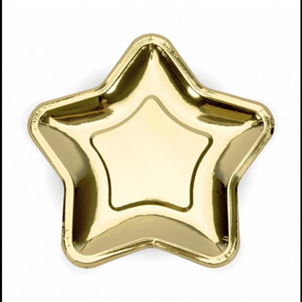 6 Pappteller Trend - Ø 23cm - Gold Star