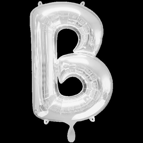 1 Ballon XXL - Buchstabe B - Silber
