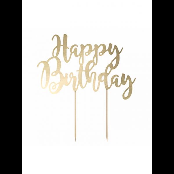 1 Cake Topper - Happy Birthday - Gold
