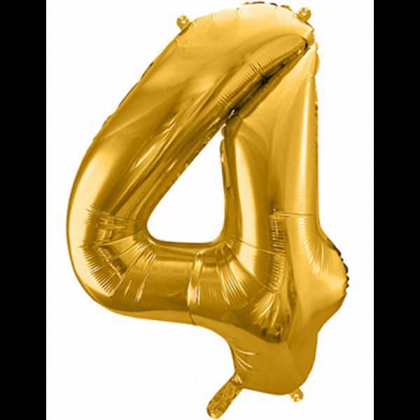 1 Ballon XXL - Zahl 4 - Gold