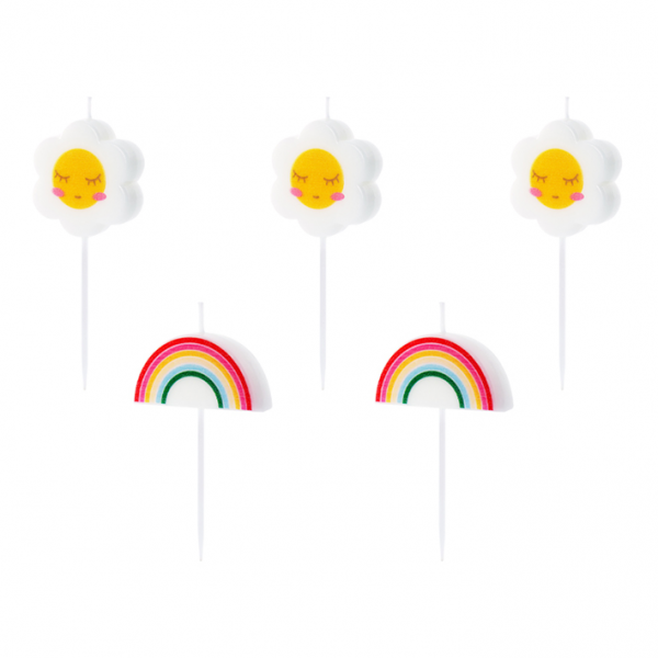 5 Kuchenkerzen - Rainbow