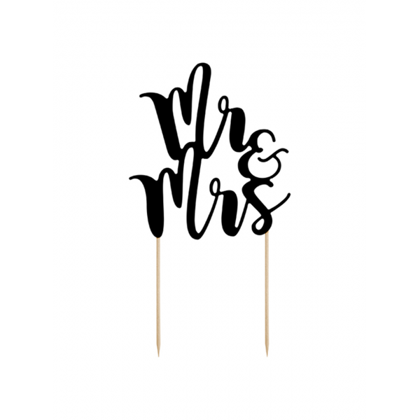 1 Cake Topper - Mr & Mrs - Schwarz