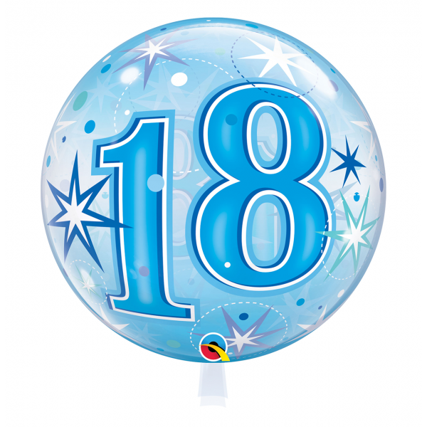 1 Bubble Ballon - 18 Blue Starburst Sparkle