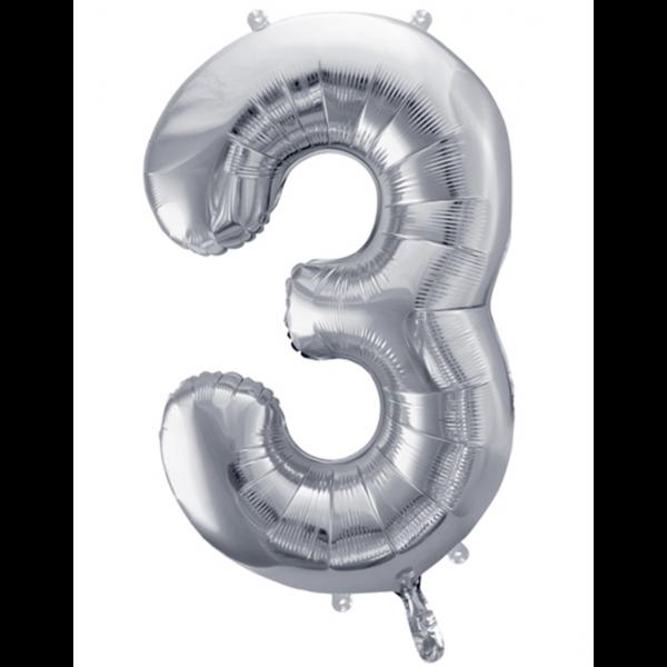 1 Ballon XXL - Zahl 3 - Silber