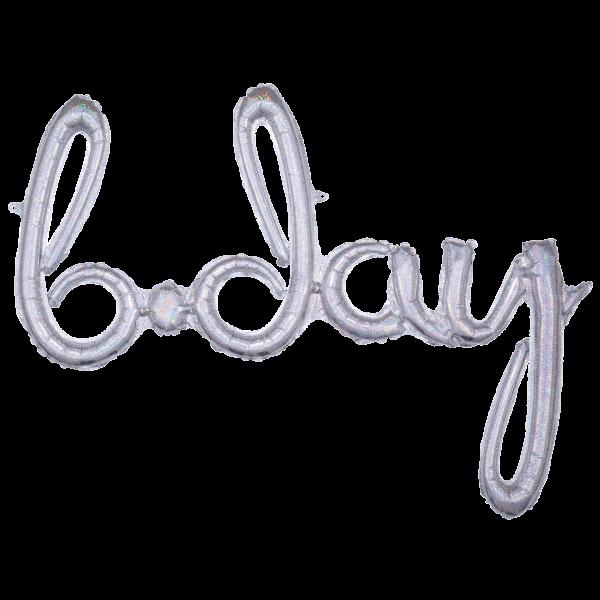 1 Ballon - Schriftzug b.day - Silber Holographic