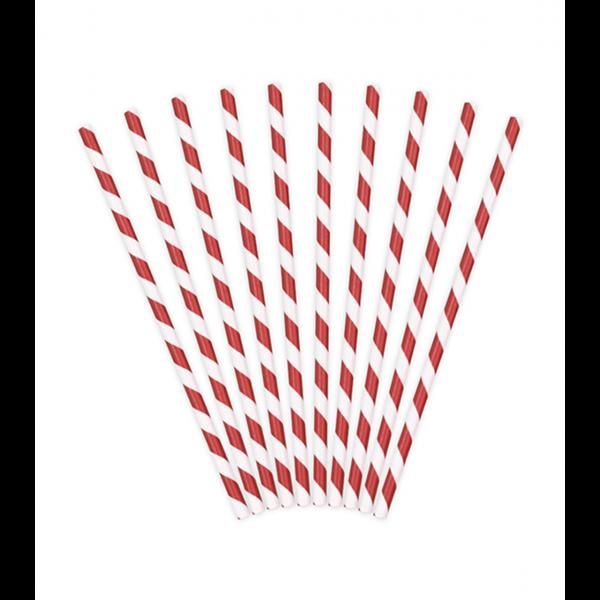 10 Papierstrohhalme - Mix - Rot