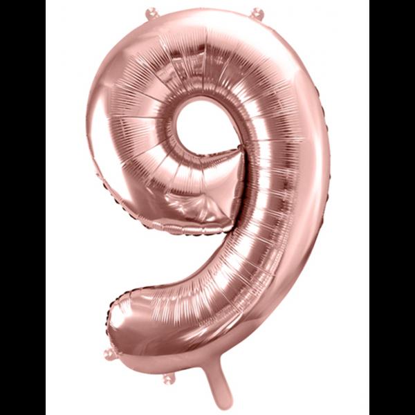 1 Ballon XXL - Zahl 9 - Rosegold