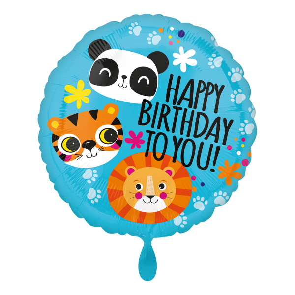 1 Ballon - Lion, Tiger and Panda HBD