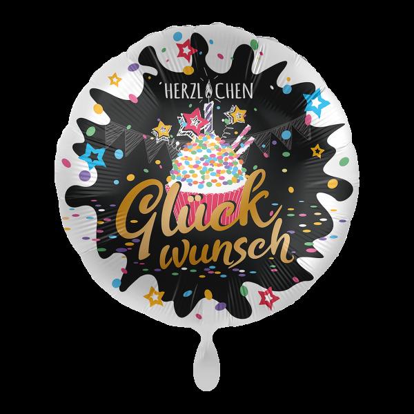 1 Ballon - Herzlichen Glückwunsch Cupcake