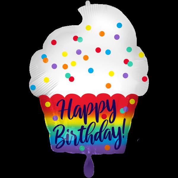 1 Ballon - HBD Satin Cupcake