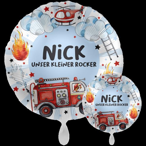 1 Ballon XXL mit Text - Happy Fire Engine