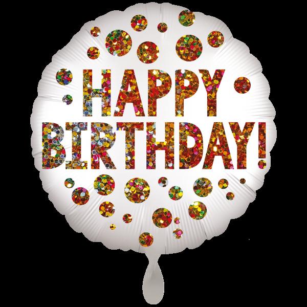 1 Ballon XXL - Satin Infused Birthday Sequins