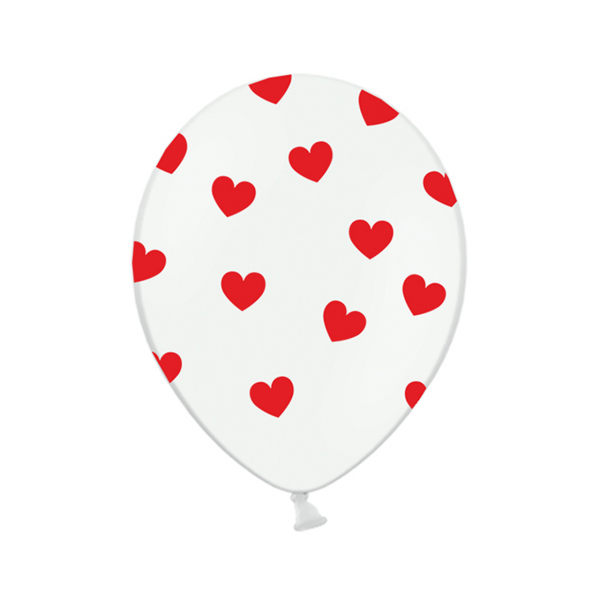 6 Motivballons - Ø 30cm - Red Hearts