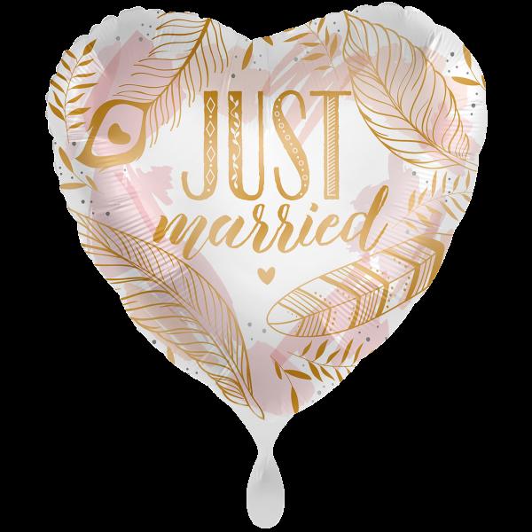 1 Ballon XXL - Just Married Boho Feathers