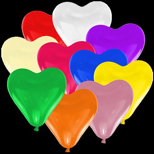 100 Herzballons - Ø 15cm - Bunt