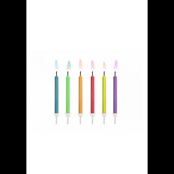 6 Kuchenkerzen mit Halterung - Bunt - Colored Flames
