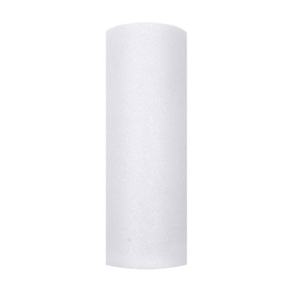 1 Tüllstoff - 15cm - Glittery - Weiß