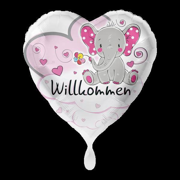 1 Ballon - Elefant Willkommen Rosa