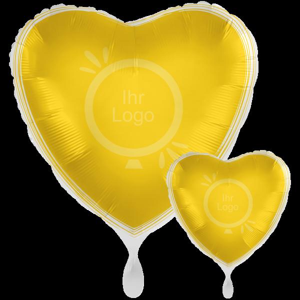 1 Werbeballon XXL - Herz, Ø 71cm, 2-Seitig - Satin - Gelb