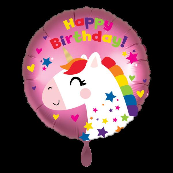 1 Ballon - Satin Unicorn Birthday