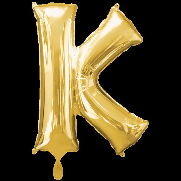 1 Ballon XXL - Buchstabe K - Gold