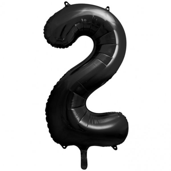 1 Ballon XXL - Zahl 2 - Schwarz