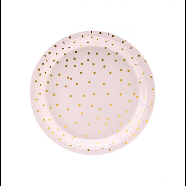 6 Pappteller Trend - Ø 18cm - Dots Rosa