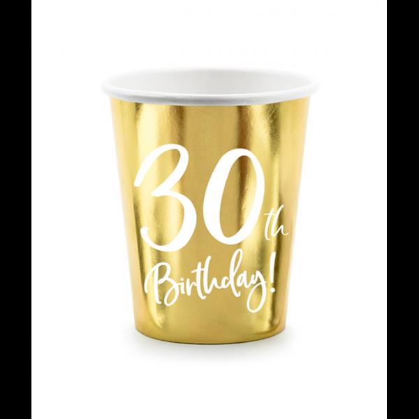 6 Pappbecher Trend - 220ml - 30th Birthday