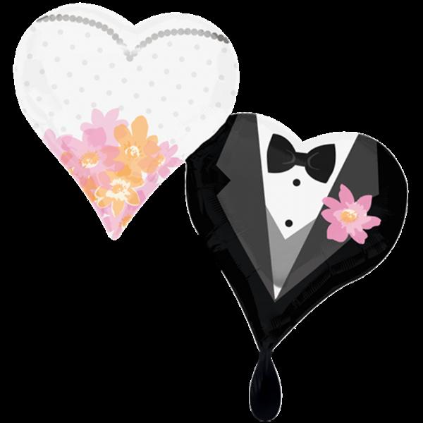 1 Ballon XXL - Wedding Couple Hearts