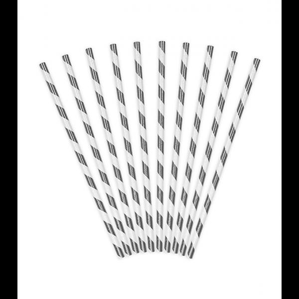 10 Papierstrohhalme - Stripes - Silber