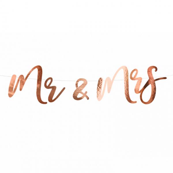 1 Bannergirlande - Mr & Mrs - Rosegold