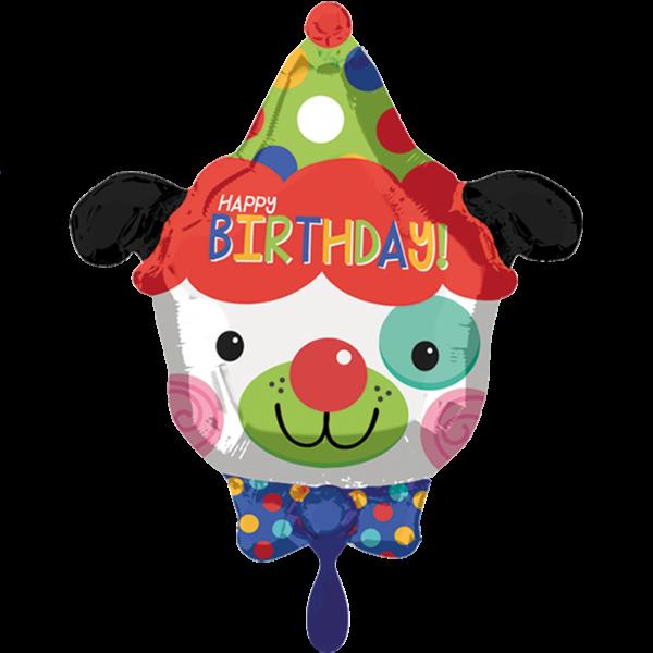 1 Ballon - HBD Clown Dog