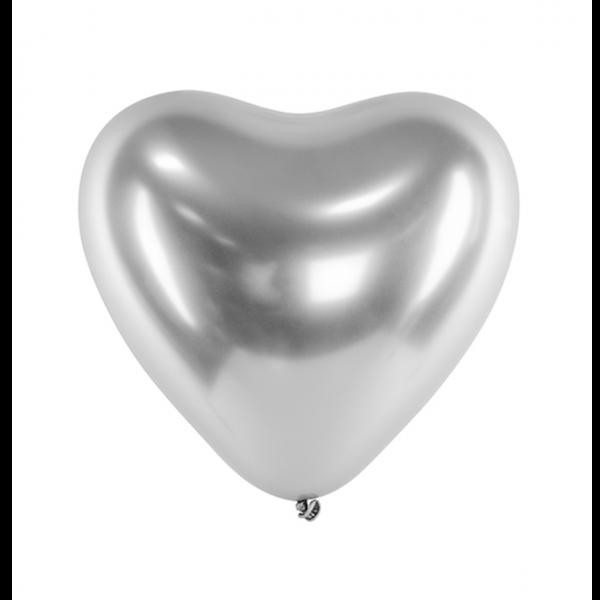 50 Herzballons XL - Ø 27cm - Glossy - Silber