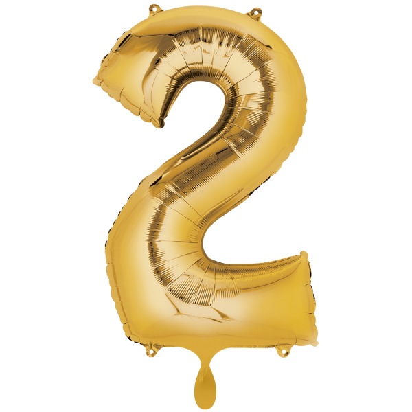 1 Ballon XXL - Zahl 2 - Gold