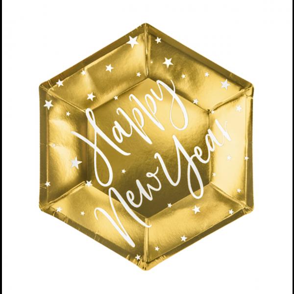6 Pappteller Trend - Ø 20cm - Happy New Year