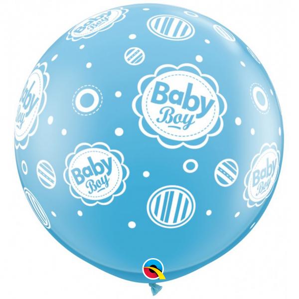 2 Riesenballons - Ø 90cm - Baby Boy Dots