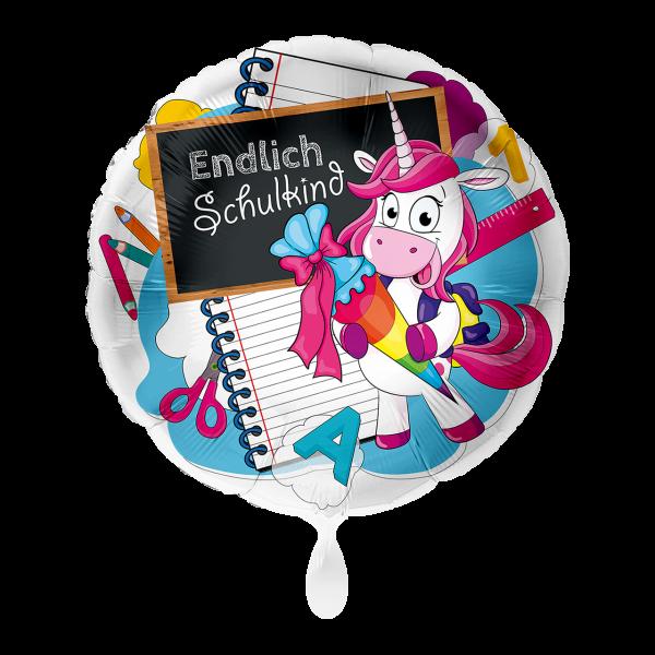 1 Ballon - Einhorn Endlich Schulkind