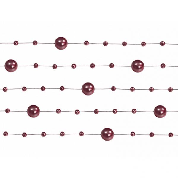 1 Perlengirlande - 1,3m - Dunkelrot