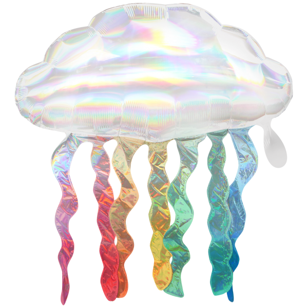 1 Ballon XXL - Iridescent Cloud with Streamers