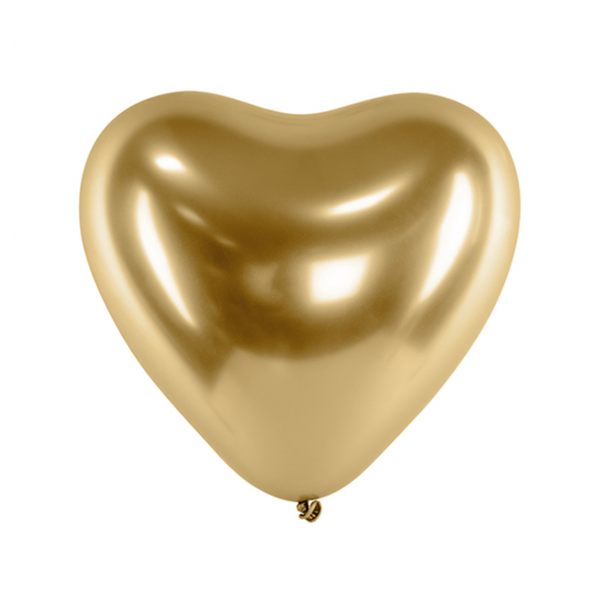 50 Herzballons - Ø 27cm - Glossy - Gold