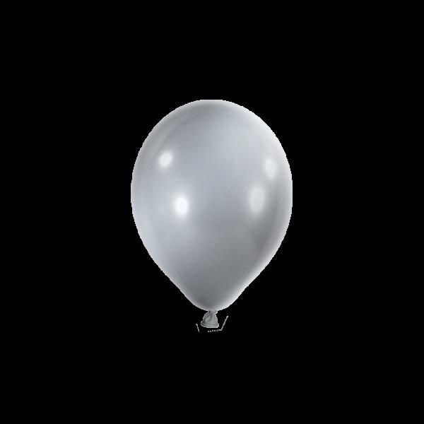 100 Miniballons - Ø 12cm - Metallic - Silber