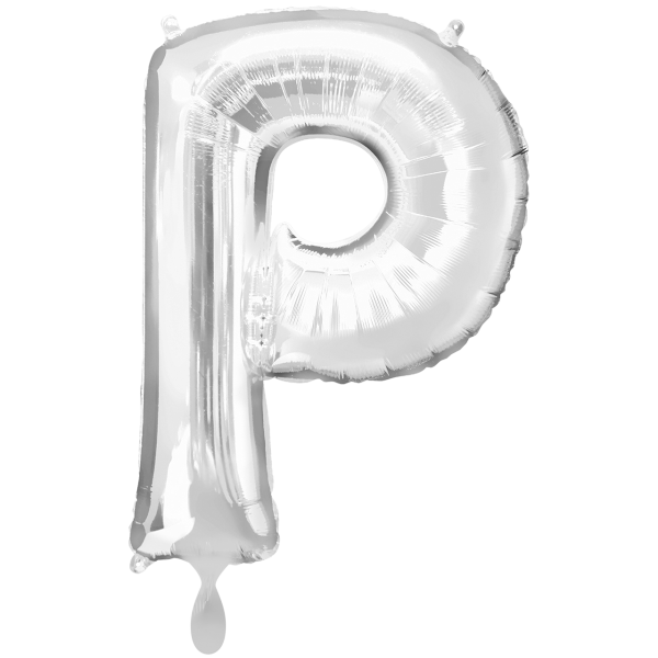 1 Ballon XXL - Buchstabe P - Silber