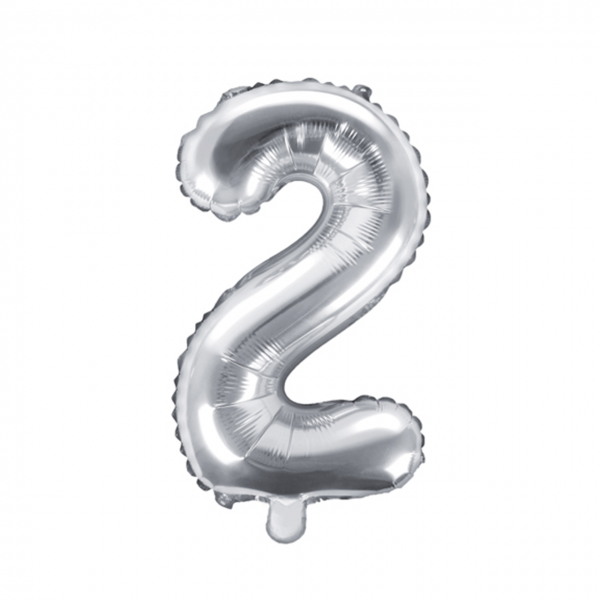 1 Ballon XS - Zahl 2 - Silber