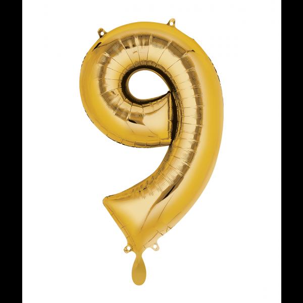 1 Ballon XL - Zahl 9 - Gold