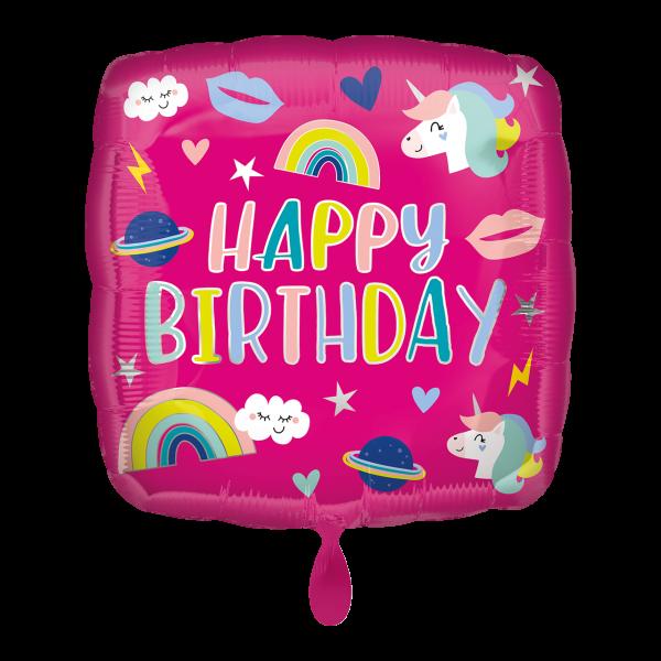 1 Ballon - Happy Birthday Unicorn Trendy Icons
